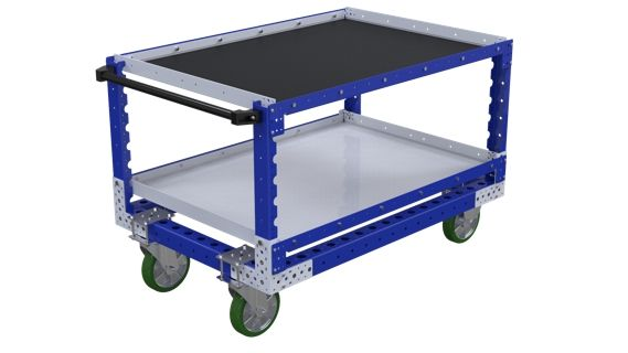 FlexQube industrial shelf cart with handlebar