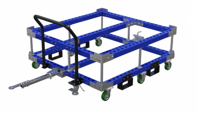 Large industrial container cart with tow bar by FlexQube
