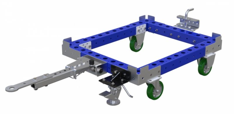 Small modular tote dolly with tow bar