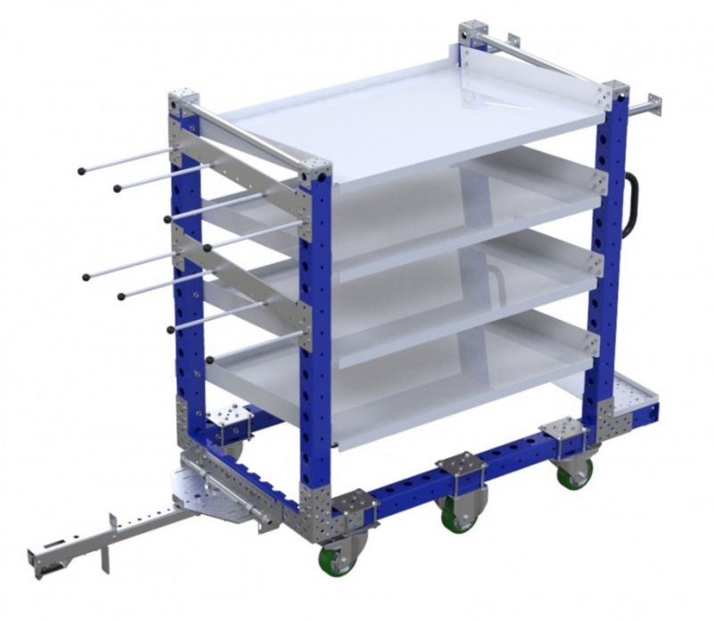 FlexQube kit cart with hangers and flow shelves
