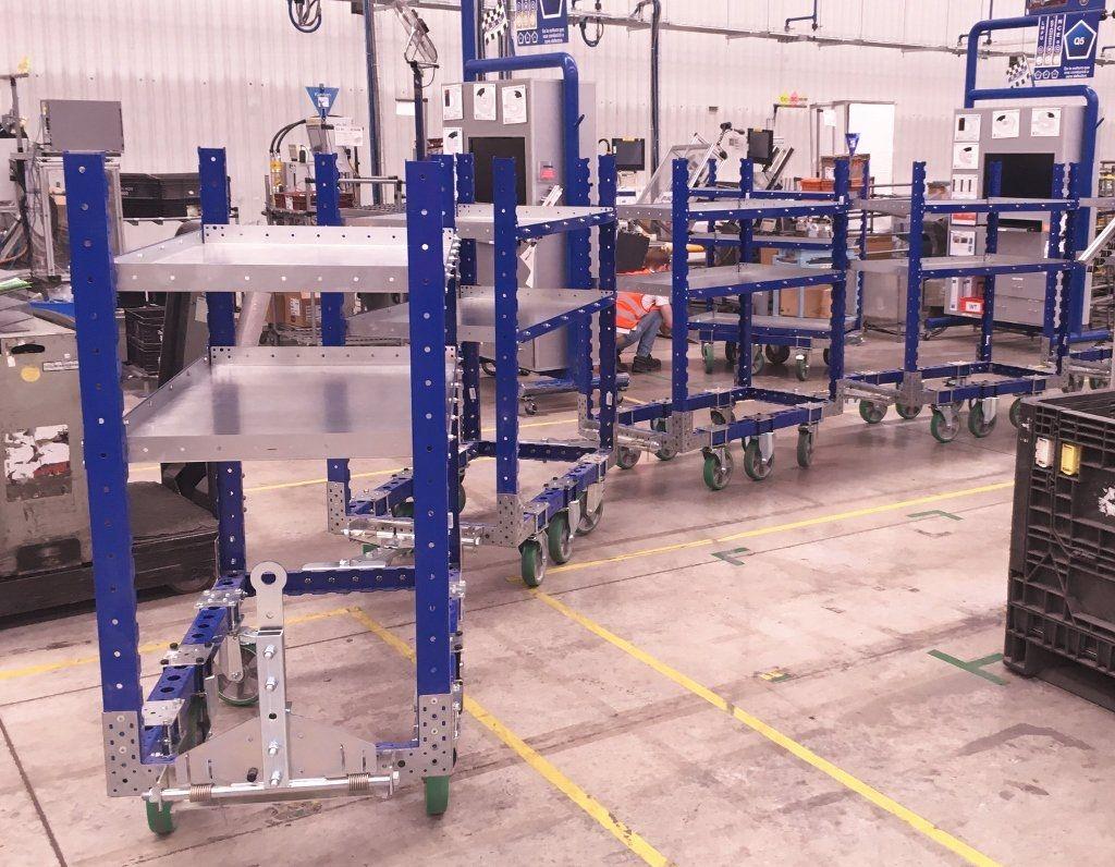 FlexQube shelf cart tugger train at Autoliv