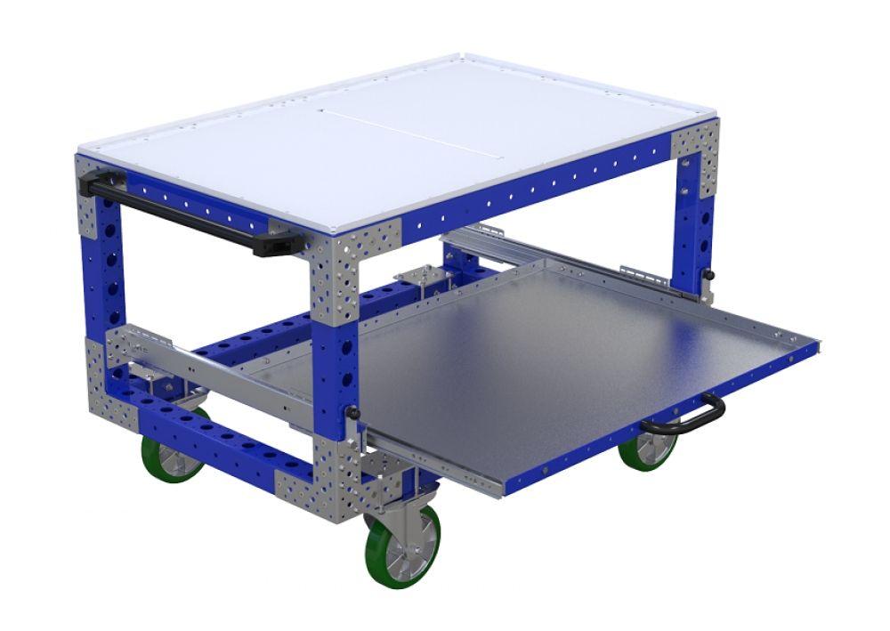 Modular material handling cart with extendable shelf