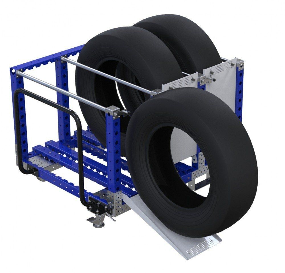 Tyre kit cart with handlebar by FlexQube