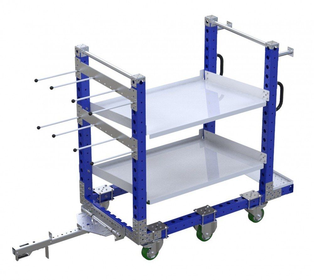 Kit cart with two flow shelves by FlexQube