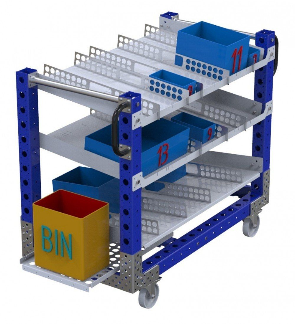 FlexQube tool cart with flow shelves