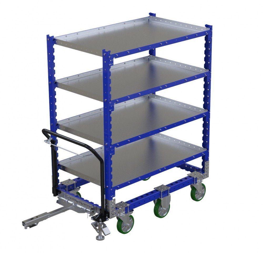 Modular flat shelf tugger cart
