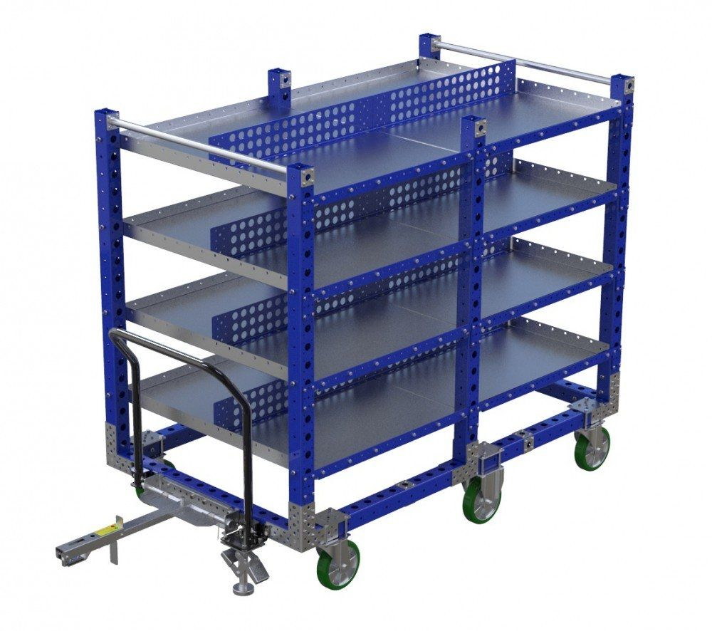FlexQube modular industrial shelf cart with dividers