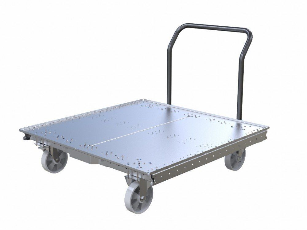 49 x 49 inch push cart with steel flat deck