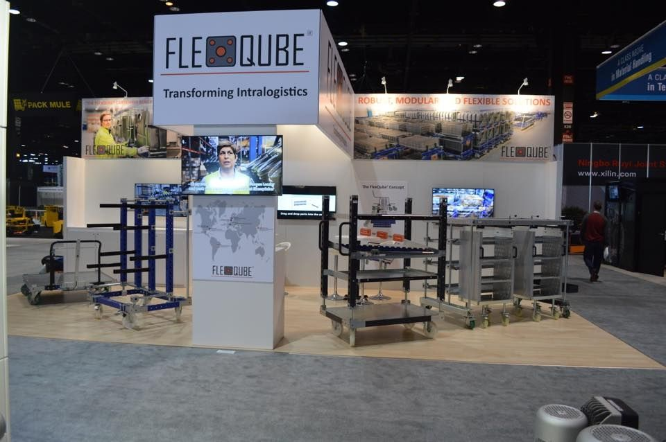 FlexQube booth at ProMAT trade show in Chicago