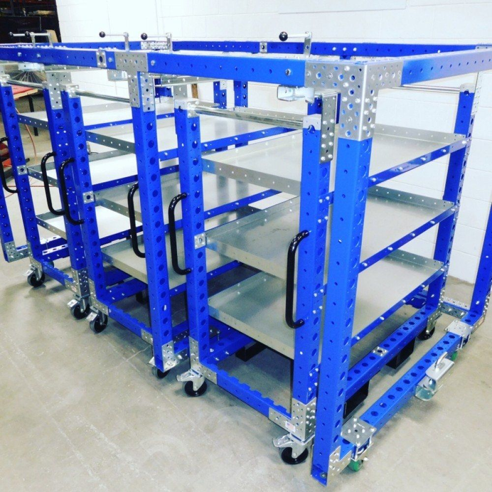 3 in 1 mother daughter cart system by FlexQube shelf carts