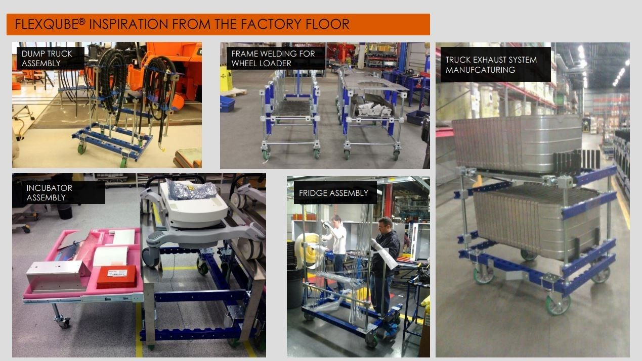 Different FlexQube carts in assembly areas