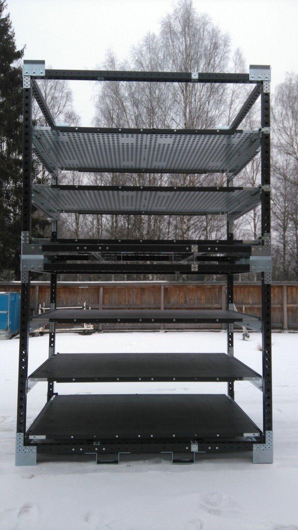 FlexQube racks stacked in snow