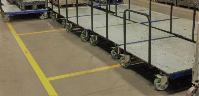 FlexQube flatbed carts grouped together