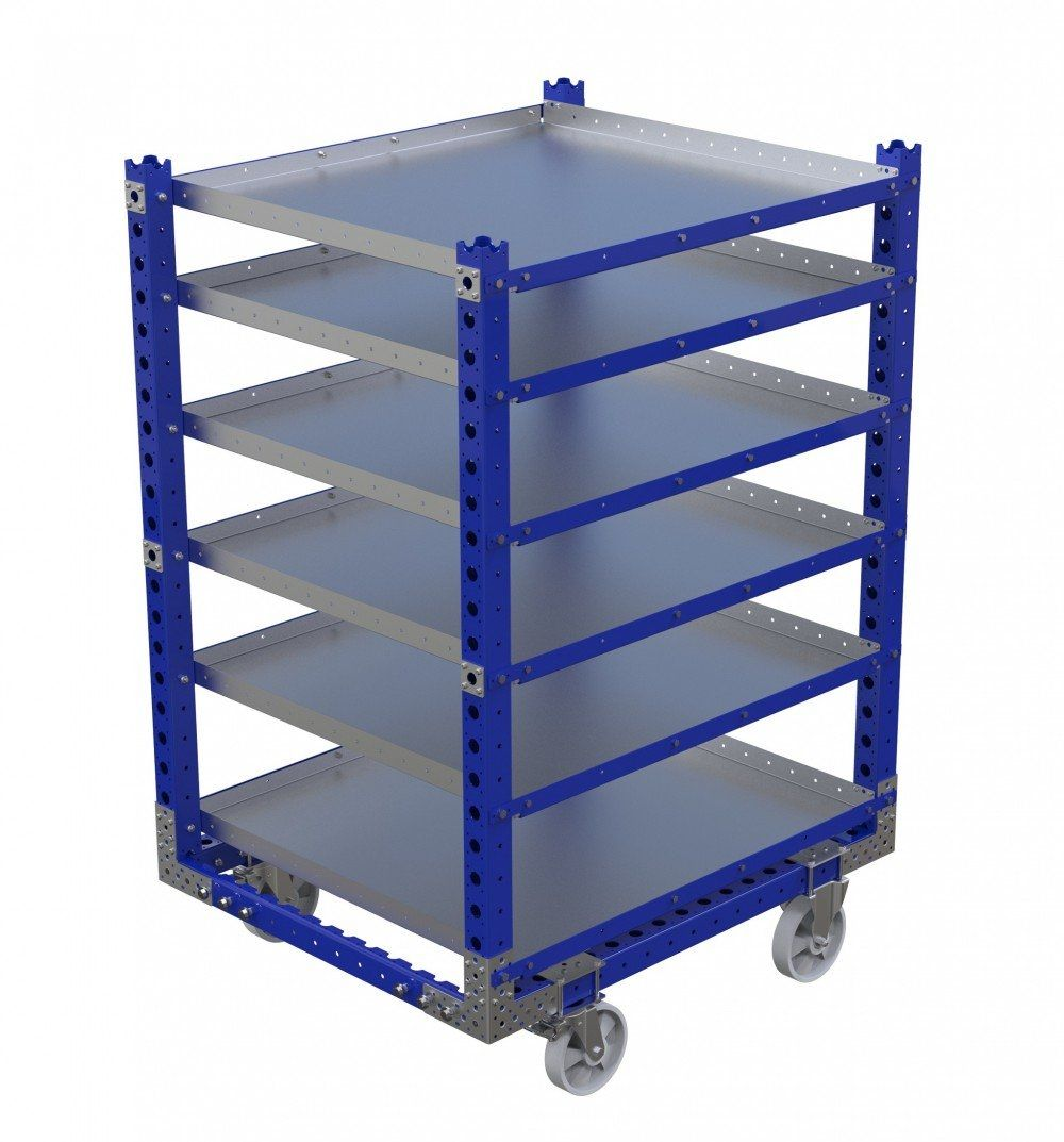 Flat shelf cart compatible with LiftRunner system