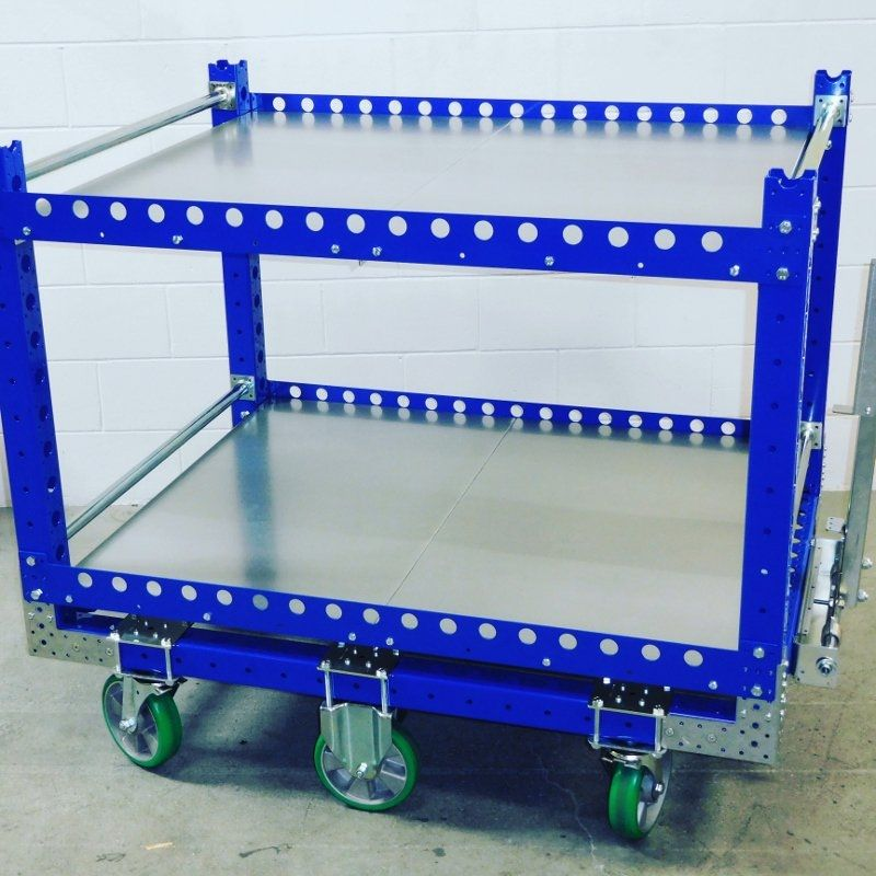 FlexQube flat shelf tugger cart