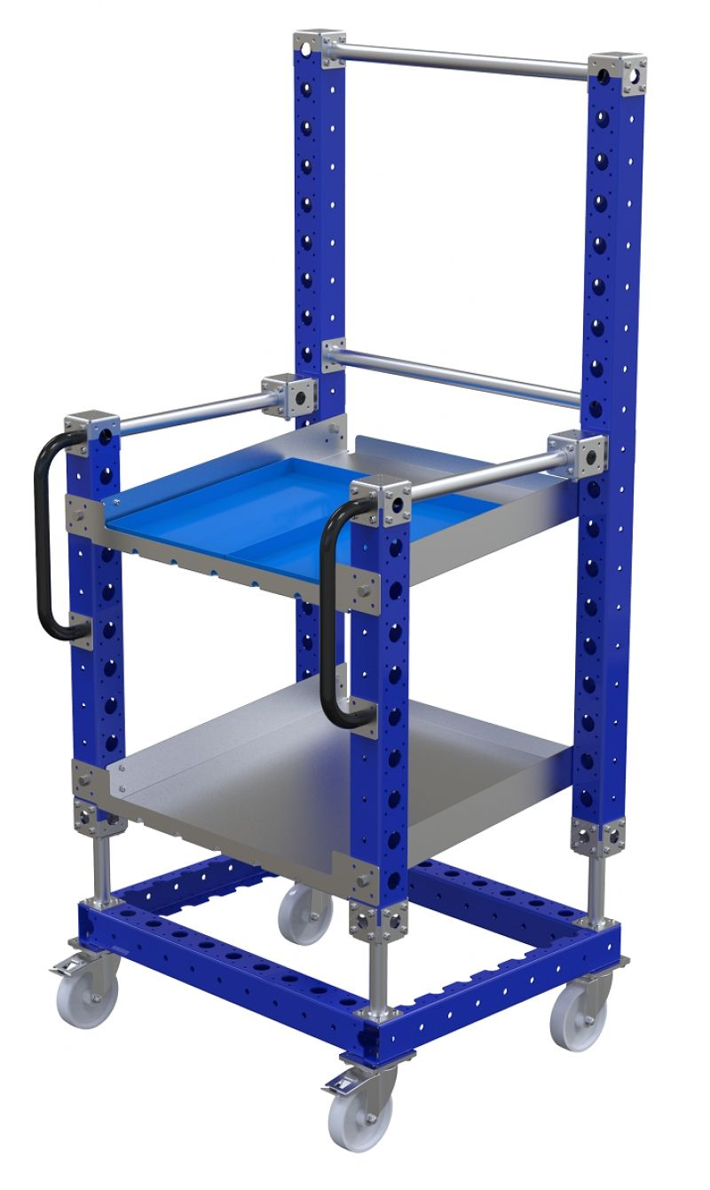 FlexQUbe angled shelf and tool cart