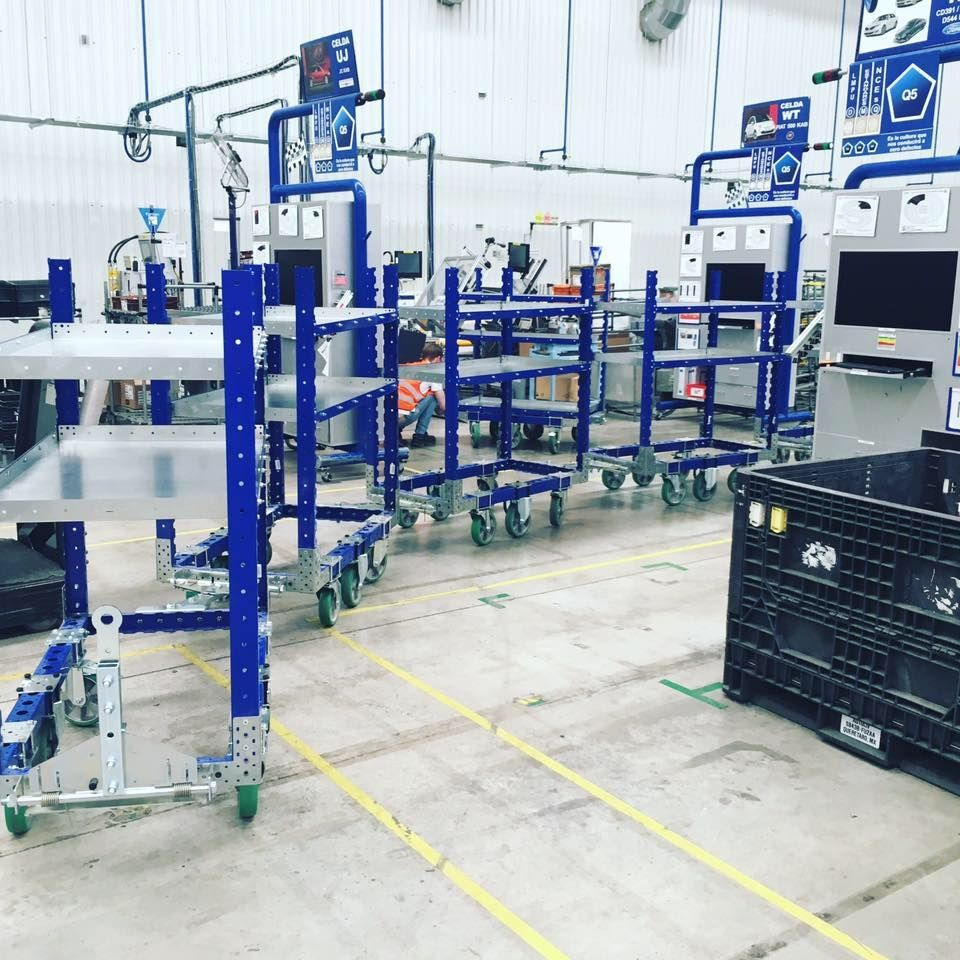 FlexQube shelf carts in a tugger train