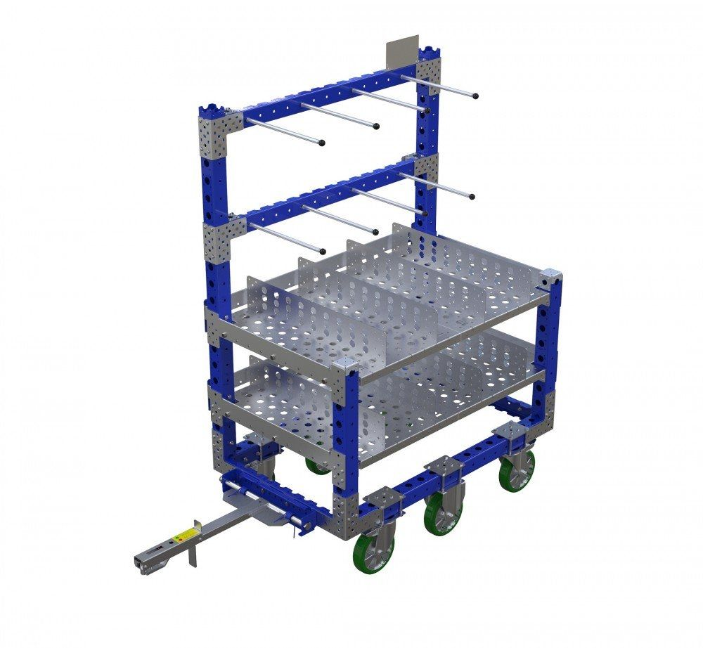FlexQube material handling kit cart with tow bar