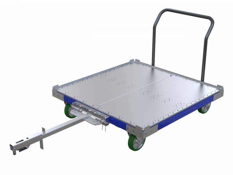 50 x 50 inch tugger cart with long tow bar and handlebar