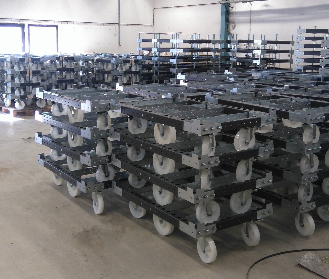 FlexQube pallet carts stacked together