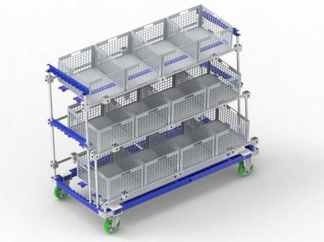 FlexQube modular racking system with casters