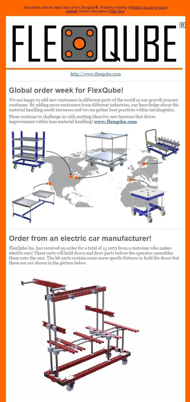FlexQube newsletter with the latest regarding material handling carts!