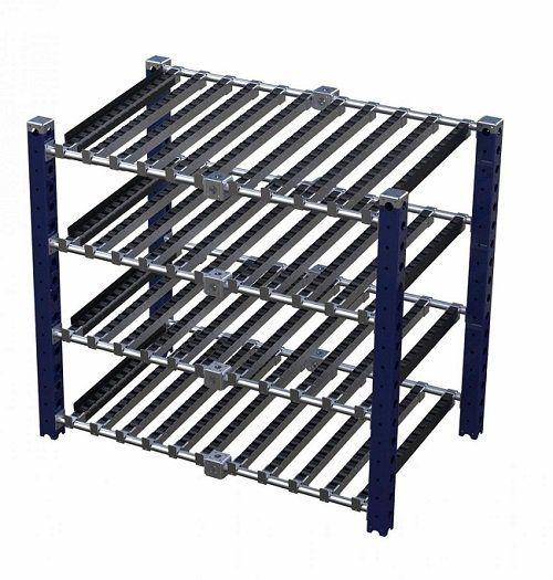 FlexQUbe flow rack with four shelves