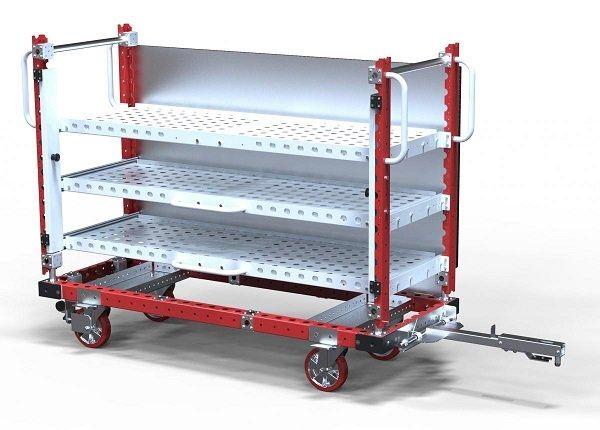 FlexQube extendable shelf cart with a tow bar