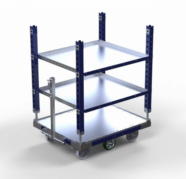 FlexQube flat shelf cart with tow bar