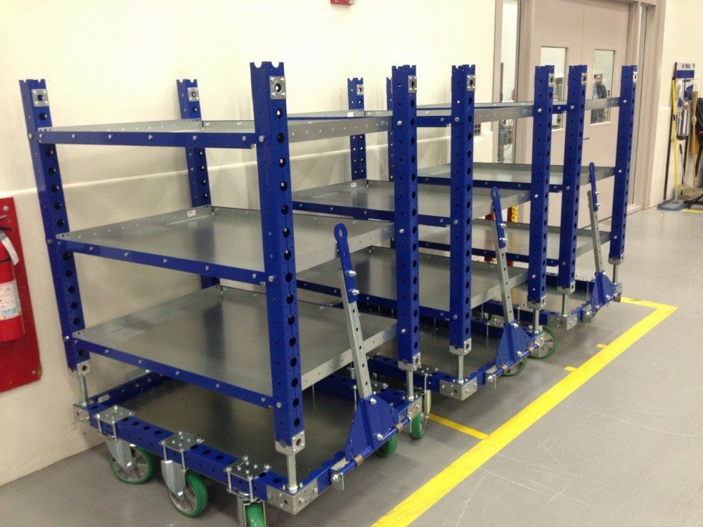FlexQube Material Handling shelf carts with added tow bars
