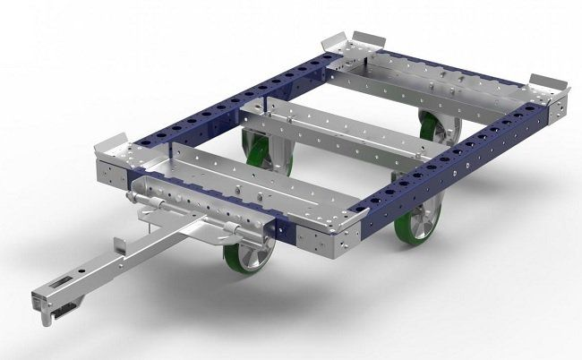Keep your current racks and bins but go forklift free placing them on a tugger cart from FlexQube®!
