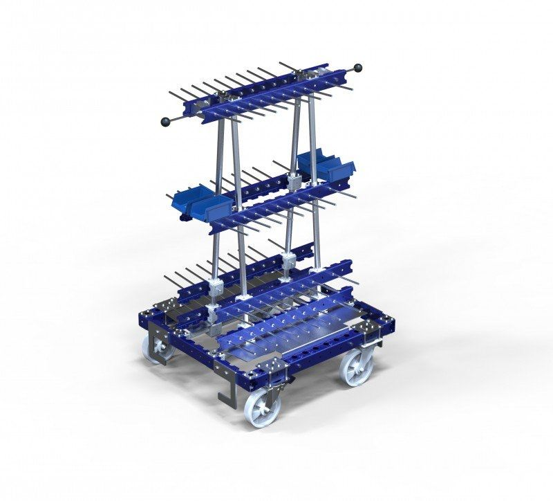FlexQube Material Handling custom kit cart for hanging materials