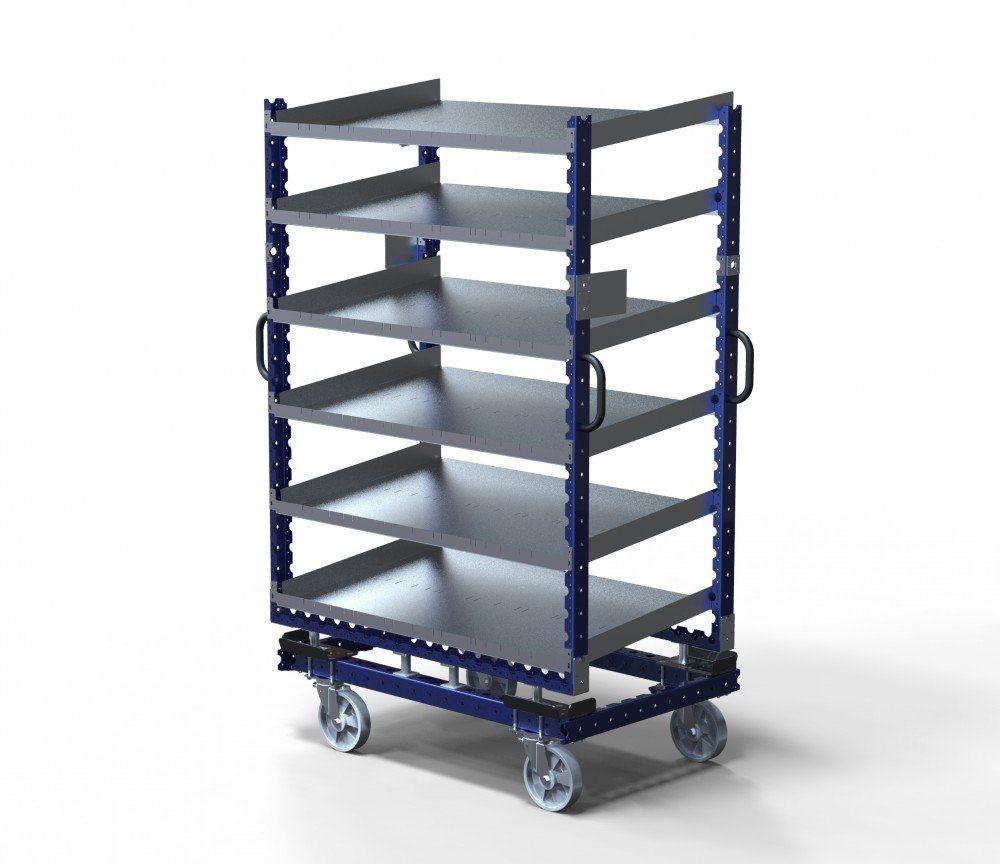 Custom designed flow shelf cart