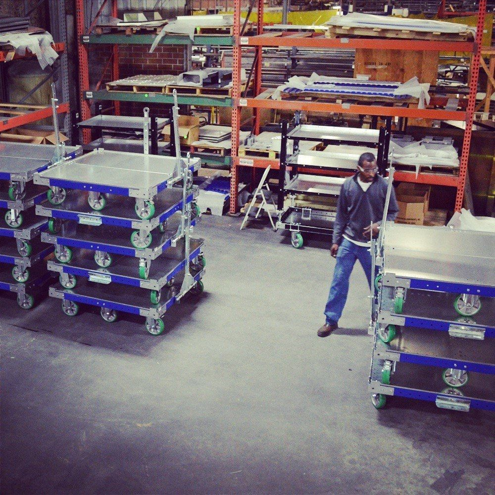 The assembly of FlexQube pallet carts