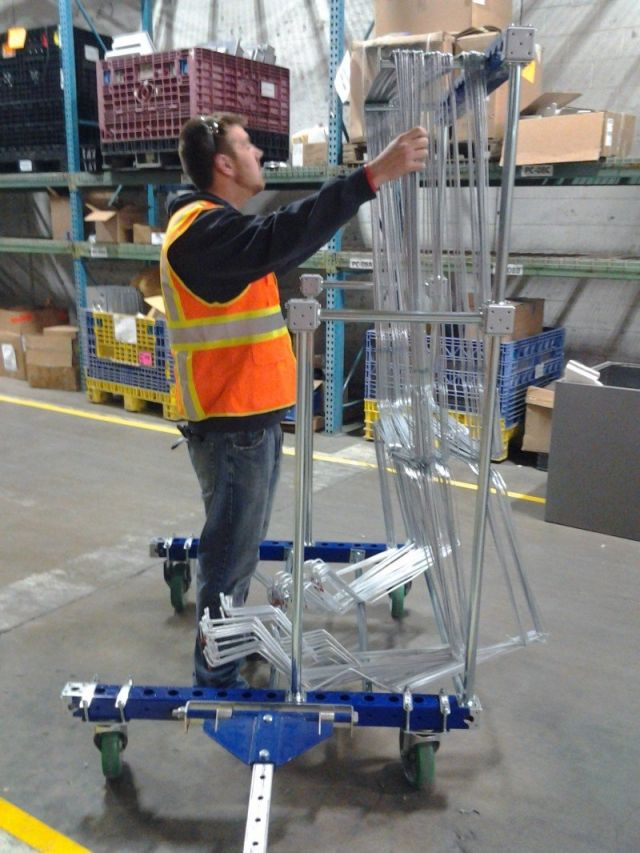 FlexQube hanging cart in a manufacturing facility