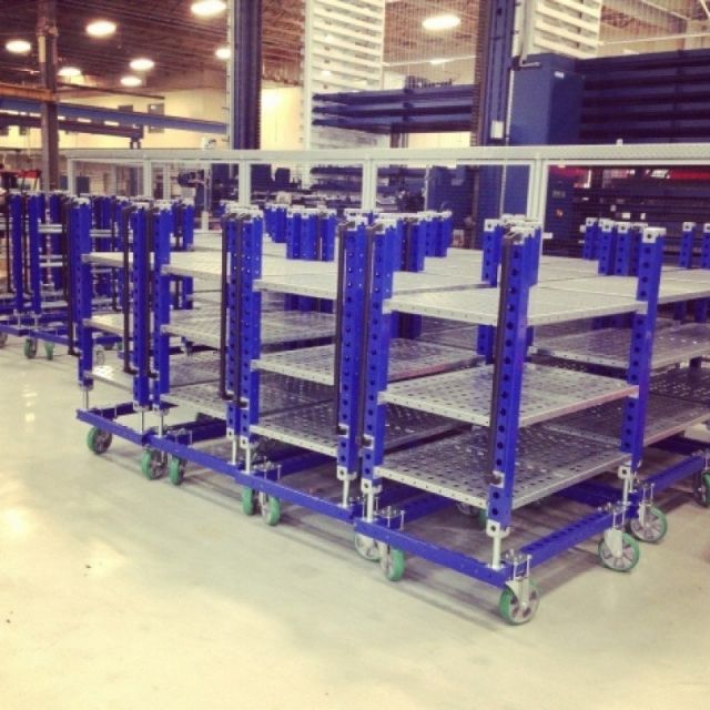 FlexQube shelf carts stacked together