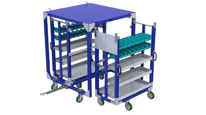 Mother-daughter cart with shelves