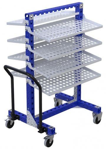 Modular & industrial material handling removable shelf cart by FlexQube