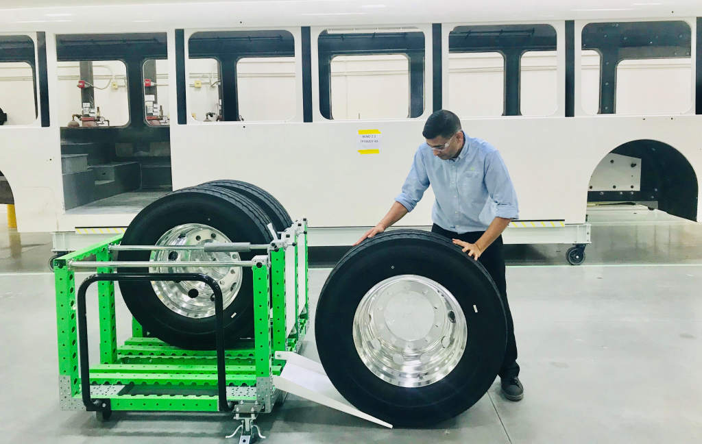 FlexQube kit carts at a bus manufacturer