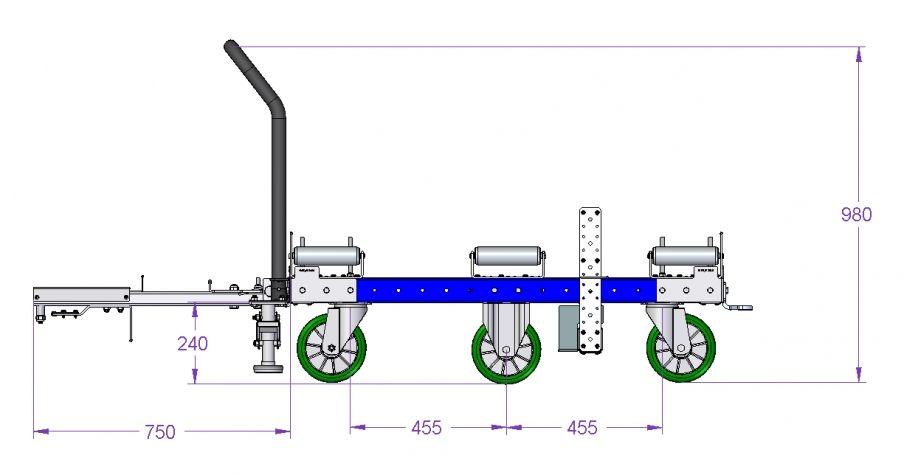 Roller transfer cart – 1260 x 1260 mm
