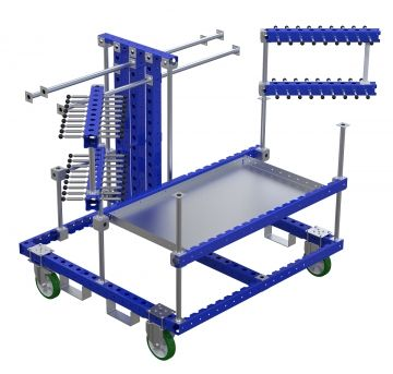 Hose cart with swing arms