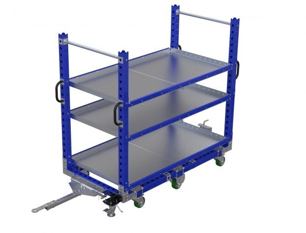 Flat Shelf Tugger Cart 70 x 36 inch - 3 Shelves