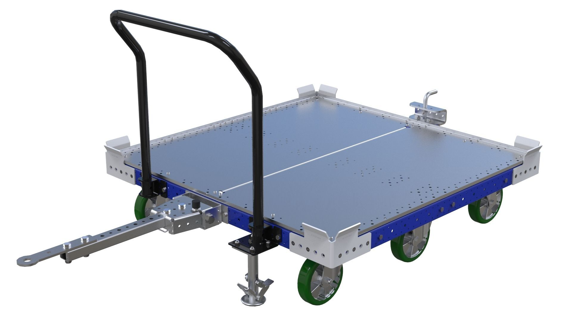 50 x 50 inch (1260 mm x 1260 mm) tugger cart with flat deck