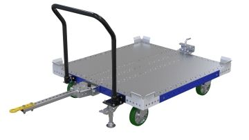 Pallet cart with attached steel flat deck, designed for transporting pallets and containers. Q-100-2608 Pallet Cart - 1190 x 1260 mm