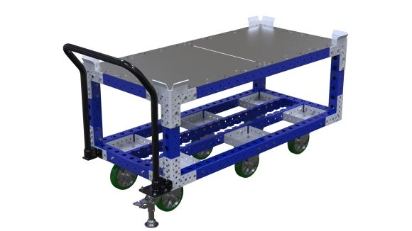 Custom designed push cart with flat deck. Q-100-2626 Push Cart - 770 x 1610 mm