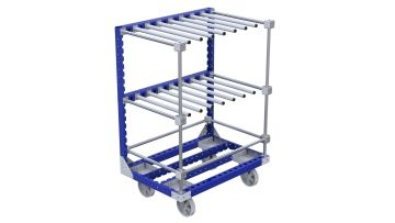 Cart equipped with hangers that can hold different materials like reels, boxes and parts. Q-100-2628 Cart with Hangers - 820 x 1190 mm
