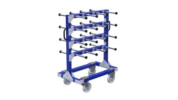 Cart with horizontal tubes for hanging components. Q-100-2637 Hanging Cart - 630 x 910 mm