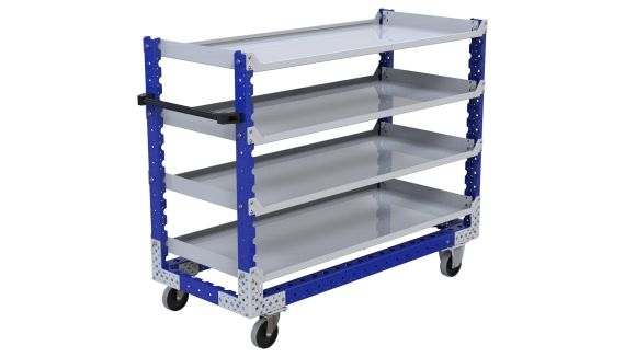 Shelf cart equipped with four flat shelves, designed to transport totes, bins and boxes. Q-100-2669 Flat Shelf Cart - 630 x 1470 mm
