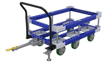 Pallet cart with attached subframe for improved ergonomics. Q-100-2711 Pallet Cart w. SubFrame - 840 x 1260 mm