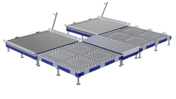 Custom designed transfer cart for pallets and containers.. Q-100-2120 Transfer Station (Q-100-2117/2118/2119)